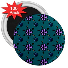 Blue Purple Floral Flower Sunflower Frame 3  Magnets (100 Pack) by Alisyart