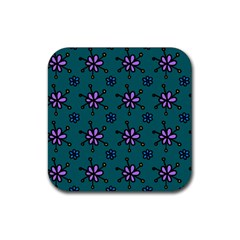 Blue Purple Floral Flower Sunflower Frame Rubber Square Coaster (4 Pack)  by Alisyart