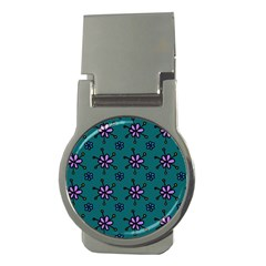 Blue Purple Floral Flower Sunflower Frame Money Clips (round)  by Alisyart