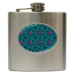 Blue Purple Floral Flower Sunflower Frame Hip Flask (6 Oz) by Alisyart