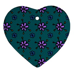 Blue Purple Floral Flower Sunflower Frame Heart Ornament (two Sides) by Alisyart