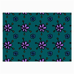 Blue Purple Floral Flower Sunflower Frame Large Glasses Cloth by Alisyart