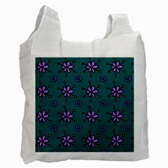 Blue Purple Floral Flower Sunflower Frame Recycle Bag (one Side) by Alisyart
