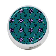 Blue Purple Floral Flower Sunflower Frame 4 Port Usb Hub (one Side) by Alisyart