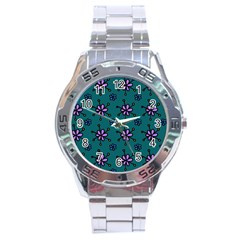 Blue Purple Floral Flower Sunflower Frame Stainless Steel Analogue Watch by Alisyart