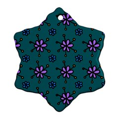 Blue Purple Floral Flower Sunflower Frame Ornament (snowflake)