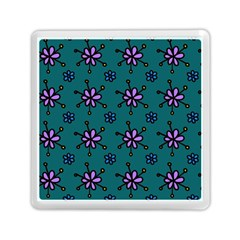 Blue Purple Floral Flower Sunflower Frame Memory Card Reader (square)  by Alisyart