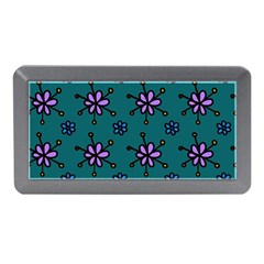 Blue Purple Floral Flower Sunflower Frame Memory Card Reader (mini) by Alisyart