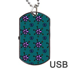 Blue Purple Floral Flower Sunflower Frame Dog Tag Usb Flash (two Sides)