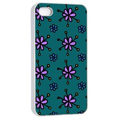 Blue Purple Floral Flower Sunflower Frame Apple Iphone 4/4s Seamless Case (white)