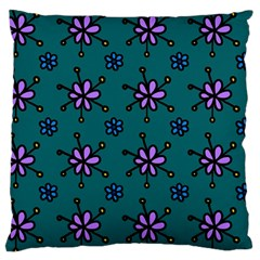 Blue Purple Floral Flower Sunflower Frame Large Cushion Case (one Side) by Alisyart