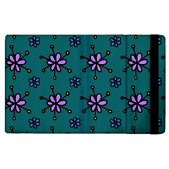 Blue Purple Floral Flower Sunflower Frame Apple Ipad 2 Flip Case by Alisyart