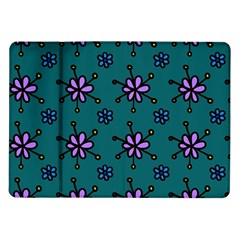 Blue Purple Floral Flower Sunflower Frame Samsung Galaxy Tab 10 1  P7500 Flip Case