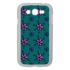 Blue Purple Floral Flower Sunflower Frame Samsung Galaxy Grand Duos I9082 Case (white) by Alisyart
