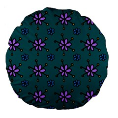 Blue Purple Floral Flower Sunflower Frame Large 18  Premium Flano Round Cushions by Alisyart