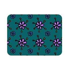Blue Purple Floral Flower Sunflower Frame Double Sided Flano Blanket (mini)  by Alisyart