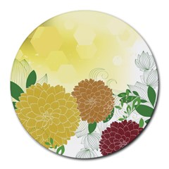 Abstract Flowers Sunflower Gold Red Brown Green Floral Leaf Frame Round Mousepads