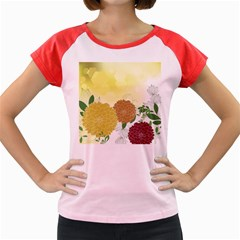 Abstract Flowers Sunflower Gold Red Brown Green Floral Leaf Frame Women s Cap Sleeve T-shirt by Alisyart