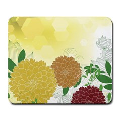Abstract Flowers Sunflower Gold Red Brown Green Floral Leaf Frame Large Mousepads