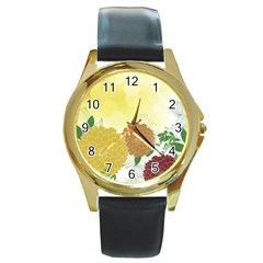 Abstract Flowers Sunflower Gold Red Brown Green Floral Leaf Frame Round Gold Metal Watch by Alisyart