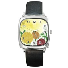Abstract Flowers Sunflower Gold Red Brown Green Floral Leaf Frame Square Metal Watch