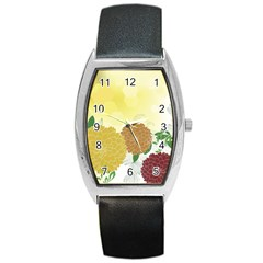 Abstract Flowers Sunflower Gold Red Brown Green Floral Leaf Frame Barrel Style Metal Watch by Alisyart