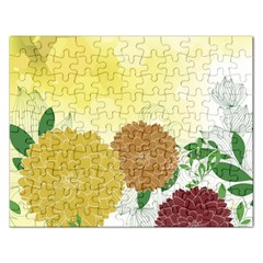 Abstract Flowers Sunflower Gold Red Brown Green Floral Leaf Frame Rectangular Jigsaw Puzzl by Alisyart