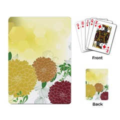Abstract Flowers Sunflower Gold Red Brown Green Floral Leaf Frame Playing Card