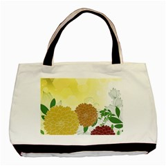Abstract Flowers Sunflower Gold Red Brown Green Floral Leaf Frame Basic Tote Bag by Alisyart