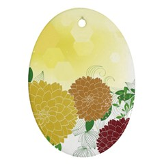 Abstract Flowers Sunflower Gold Red Brown Green Floral Leaf Frame Oval Ornament (two Sides) by Alisyart