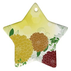 Abstract Flowers Sunflower Gold Red Brown Green Floral Leaf Frame Star Ornament (two Sides) by Alisyart