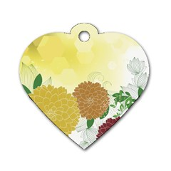 Abstract Flowers Sunflower Gold Red Brown Green Floral Leaf Frame Dog Tag Heart (one Side) by Alisyart