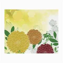 Abstract Flowers Sunflower Gold Red Brown Green Floral Leaf Frame Small Glasses Cloth (2 Side) by Alisyart