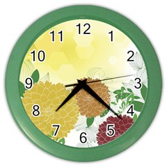 Abstract Flowers Sunflower Gold Red Brown Green Floral Leaf Frame Color Wall Clocks