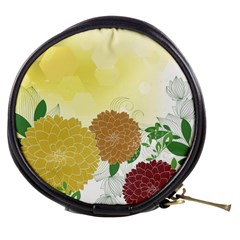 Abstract Flowers Sunflower Gold Red Brown Green Floral Leaf Frame Mini Makeup Bags