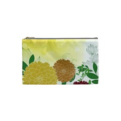 Abstract Flowers Sunflower Gold Red Brown Green Floral Leaf Frame Cosmetic Bag (small)