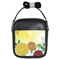 Abstract Flowers Sunflower Gold Red Brown Green Floral Leaf Frame Girls Sling Bags