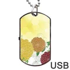 Abstract Flowers Sunflower Gold Red Brown Green Floral Leaf Frame Dog Tag Usb Flash (one Side) by Alisyart