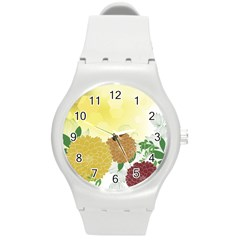 Abstract Flowers Sunflower Gold Red Brown Green Floral Leaf Frame Round Plastic Sport Watch (m) by Alisyart