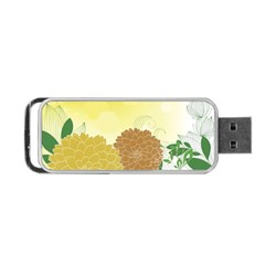 Abstract Flowers Sunflower Gold Red Brown Green Floral Leaf Frame Portable Usb Flash (two Sides) by Alisyart