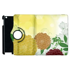 Abstract Flowers Sunflower Gold Red Brown Green Floral Leaf Frame Apple Ipad 3/4 Flip 360 Case by Alisyart