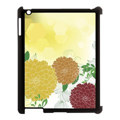 Abstract Flowers Sunflower Gold Red Brown Green Floral Leaf Frame Apple Ipad 3/4 Case (black) by Alisyart