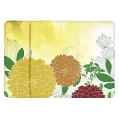Abstract Flowers Sunflower Gold Red Brown Green Floral Leaf Frame Samsung Galaxy Tab 8 9  P7300 Flip Case by Alisyart