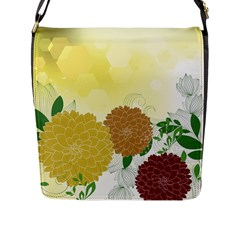 Abstract Flowers Sunflower Gold Red Brown Green Floral Leaf Frame Flap Messenger Bag (l)  by Alisyart
