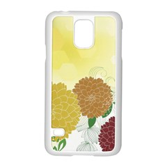 Abstract Flowers Sunflower Gold Red Brown Green Floral Leaf Frame Samsung Galaxy S5 Case (white)