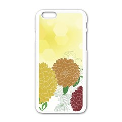 Abstract Flowers Sunflower Gold Red Brown Green Floral Leaf Frame Apple Iphone 6/6s White Enamel Case by Alisyart