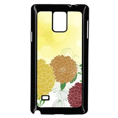Abstract Flowers Sunflower Gold Red Brown Green Floral Leaf Frame Samsung Galaxy Note 4 Case (black)