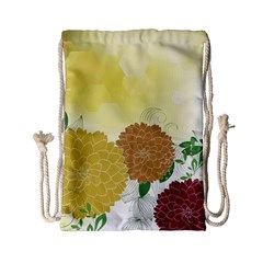 Abstract Flowers Sunflower Gold Red Brown Green Floral Leaf Frame Drawstring Bag (small) by Alisyart