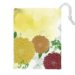 Abstract Flowers Sunflower Gold Red Brown Green Floral Leaf Frame Drawstring Pouches (xxl)