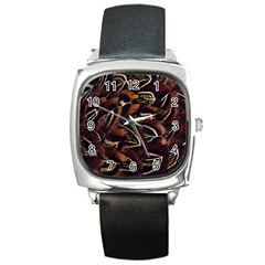 Feathers Bird Black Square Metal Watch by Simbadda
